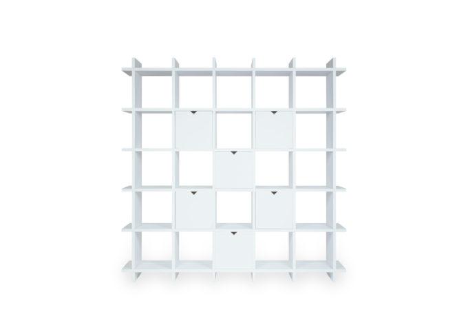 Papercomb pappregal einschub cardboard shelf 5x5 box shelly becky white